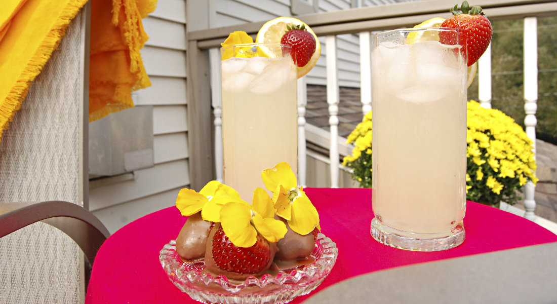 Two glasses of lemonade garnished with lemon and strawberry, plate of chocolate covered strawberries, bright potted yellow flowers.